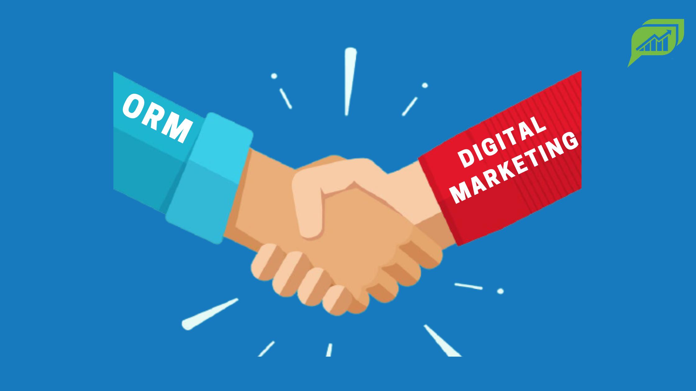 Banner showing crossed hands between ORM & Digital Marketing